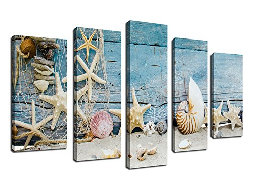 Canvas Wall Art Framed Ready to Hang 5 Panels Large Shells Starfishes Sea Snails Fishing Net