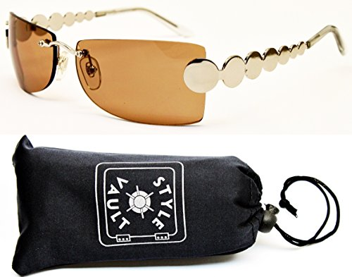 Brown Braid Clear - V3019-OP Style Vault Shield Metal Rimless Sunglasses (1080A Silver-Brown)
