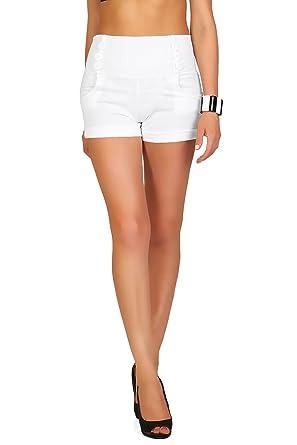 61647cf6da FUTURO FASHION® - Short Taille Haute - Poches/Boutons -  sophistiqué/Tendance -