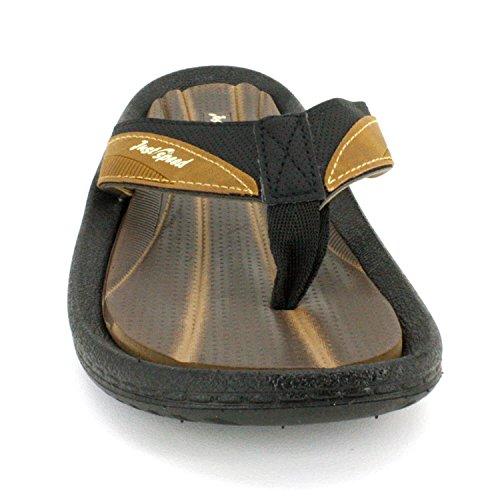 Gewoon Speed Heren Sandalen - Flip Flops, Kussen Voetbed En Flexibele Buitenzool Zwart-camel