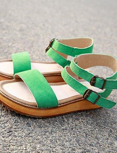ShangYi ouvert brun à plats talons décontractées pour femmes bout vert Chaussures sandales vert 6dxUwOCqq