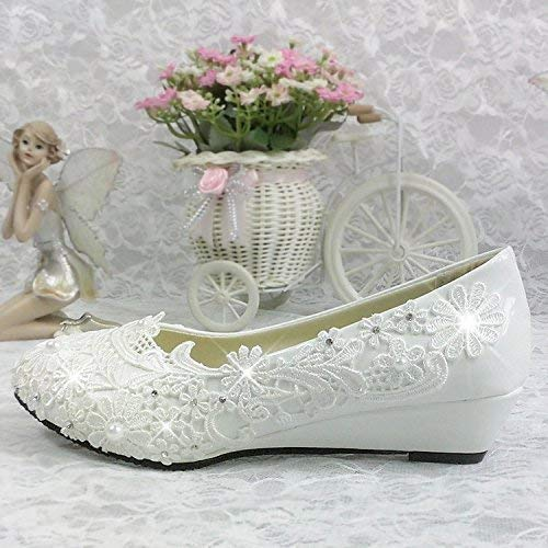 d184d9a73a1a Amazon.com  Lace white ivory crystal Wedding shoes Bridal low high heel  pump size 5 10  Handmade
