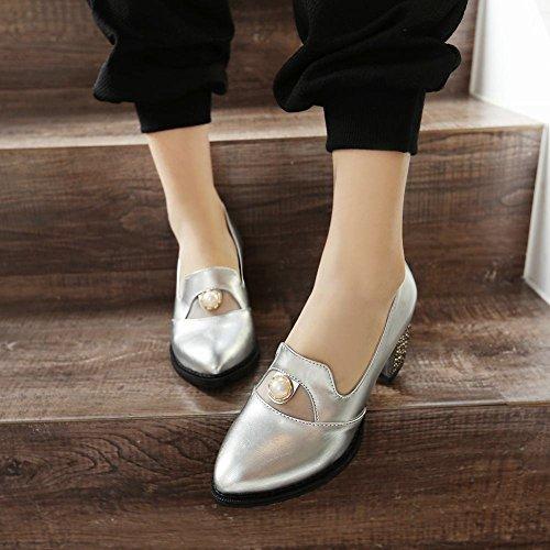 MissSaSa Damen Chunky heel Pointed Toe Pumps mit künstlich Perlen bequem und simpel Blockabsatz Metall heel Kleidschuhe Silber