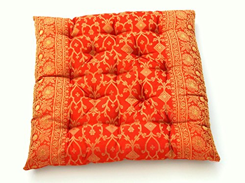 Richly Embroidered Silk (Embroidered Indian Sari Cotton Filled Chair Cushion (Saffron))