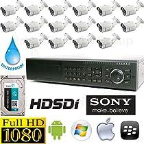 USG Sony Business Grade 1080P 16 Camera HD-SDI CCTV Kit: 1x 16 Ch HD-SDI DVR (1080P @ 30FPS Live & Recording) + 16x HD-SDI 1080P 3.6mm Bullet Cameras + 1x 3TB HDD Affordable High Definition CCTV