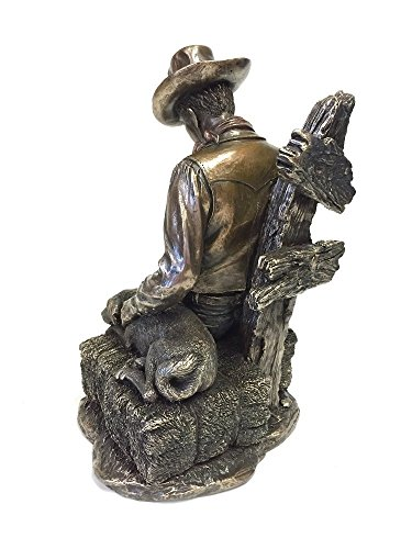 Cowboy and Dog Napping Statue Sculpture