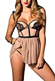 ALLovable Women's Sexy Lace Lingerie Dress Cupless Strappy Chemise Babydoll Nightwear