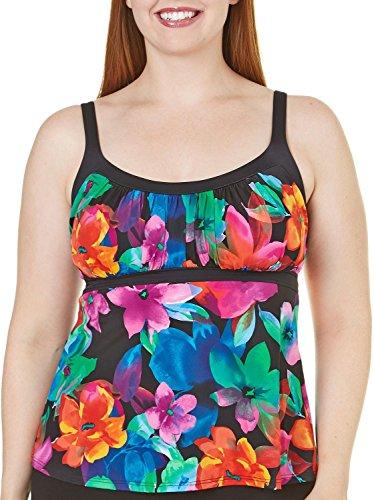 Caribbean Joe Women's Swimsuit Wine Floral Tankini Top Black Multi, Size 18