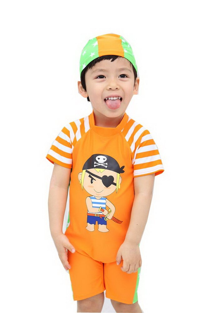 Private Boys Body Suits Orange Sun Protective Swimsuit One Piece, 3-4 Years Old PANDA SUPERSTORE PS-SPO2420245011-EMILY00860