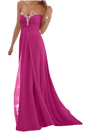 Promgirl House Damen Glamour Traegerlos A-Linie Chiffon Abendkleider  Cocktail Ballkleider Lang-46 Fuchsie  Amazon.de  Bekleidung a5407818f6