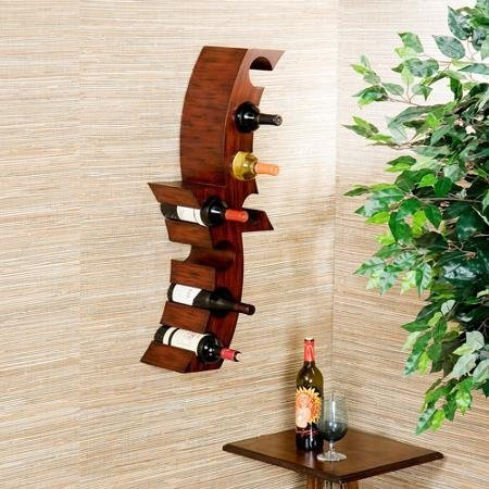 Southern Enterprises Classic Design Attrezzi Wall Mount 8 Bottles Wine Rack Napa Valley Abstract Styling