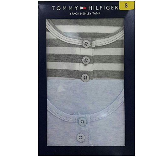 Tommy Hilfiger Henley Tank 2 Pack - Gray Stripe/Blue Heather - S