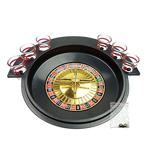 (YH Poker Spin Shot Glass Roulette Drinking Game with 6 Shot Glasses, spinning Wheel and Roulette Balls)