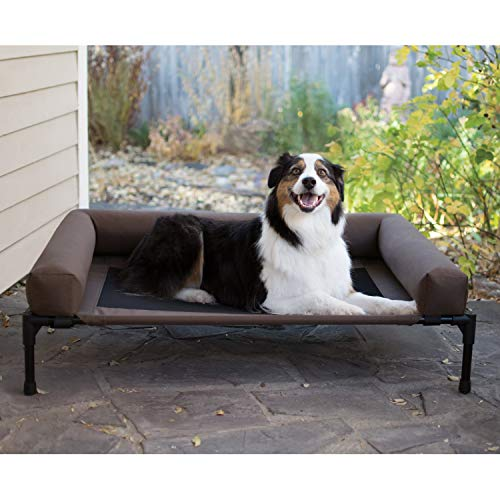 K&H PET PRODUCTS Original Bolster Pet Cot Elevated Pet Bed Chocolate/Mesh, Large