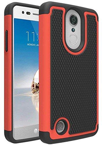 LG Aristo/LG Aristo 2/LG Phoenix 4/Rebel 4/LG Zone 4/LG Tribute Dynasty/LG Rebel 3 LTE/LG Risio 3/LG K8+ Plus/Phoenix 3/Fortune 2/K8 2018 Case, OEAGO [Shockproof] Hybrid Dual Layer Phone Case, Red