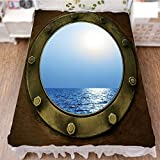 iPrint Bedding Bed Ruffle Skirt 3D Print,Circular Window of Industrial Ship in Clear Sunny,Best Modern Style Bed Skirt for Men and Women by 59''x78.7''