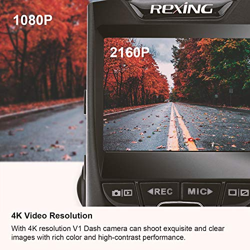 """Rexing V1 - 4K Ultra HD Car Dash Cam 2.4"""" LCD Screen, Wi-Fi, 170° Wide Angle Dashboard Camera Recorder with G-Sensor, WDR, Loop Recording, Supercapacitor, Mobile App, 256GB Supported"""