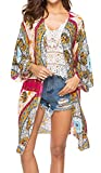 Spmor Women's Chiffon Boho Kimono Cardigan Beach Cover Shawl,one Size,Red