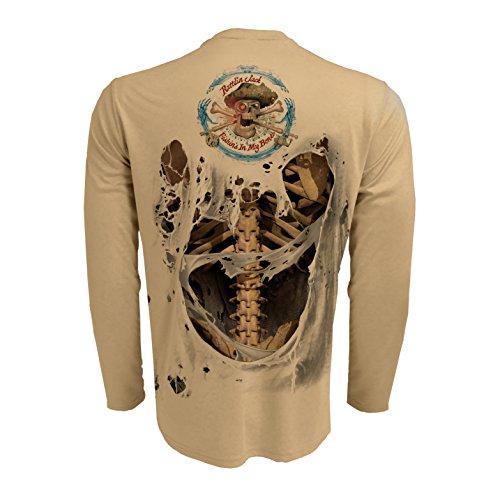 Sleeve Performance Fishing Shirt (Rattlin Jack Men's UPF 50+ Fishing Skeleton Performance Sleeve 2XL Bone On Tan)