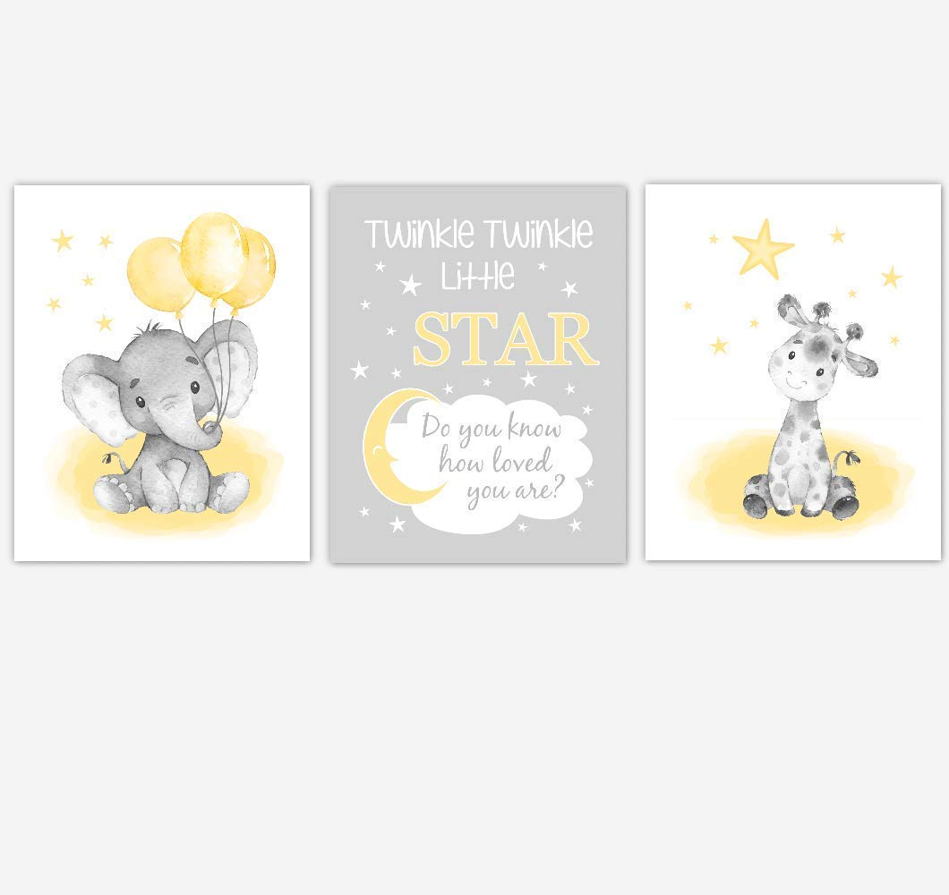 Watercolor Yellow Elephants Baby Nursery Art Safari Animals Giraffe Twinkle Little Star Wall Decor 3 UNFRAMED PRINTS