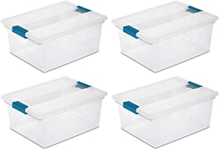 product image for Sterilite Deep Clip Box Clear Plastic Storage Tote Container with Lid, 4 Pack