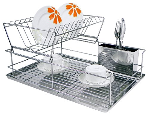 Home Basics 2 Tier Steel Dish Rack With Removable Utensil