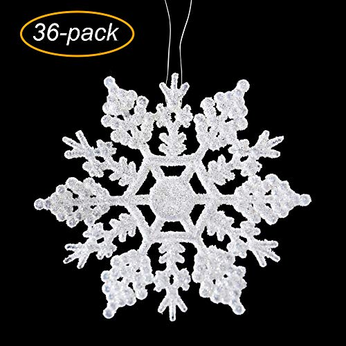 VentoMarea Plastic Glitter Snowflake, 4 36pcs Sparkling White Iridescent Glitter Snowflake Ornaments on String Hanger for Christmas Party Home Decorations,Crafting,Wdding and Embellishing