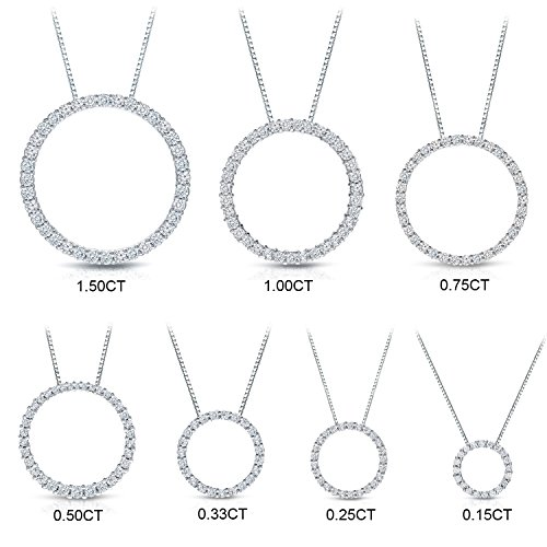 14k White Gold Round-cut Diamond Circle of Life Pendant (1/4 cttw, J-K Color, I1-I2 Clarity)