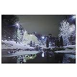 Northlight LED Lighted Nighttime City Park Winter Scene Canvas Wall Art 15.75'' x 23.75''
