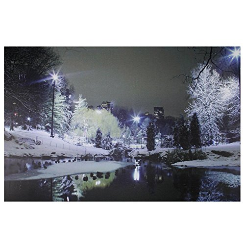 Northlight LED Lighted Nighttime City Park Winter Scene Canvas Wall Art