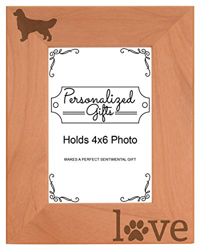 (Golden Retriever Gifts Paw Prints Dog Owner Natural Wood Engraved 4x6 Portrait Picture Frame Wood )