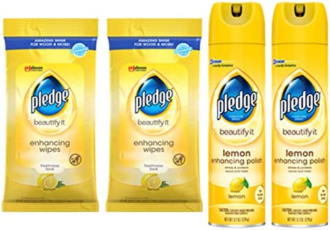 Pledge Multi-Surface Cleaner Spray and Wipes, Works on Leather, Granite, Wood, and More, Bundle, Lemon (2 Count of 9.7 ounces Cans, and a couple of Pack of 24 Wipes)