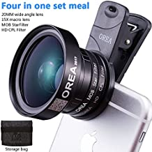 Phone Lens Kit for Iphone 7p 8p, Professional 20mm Wide Lens+15x Macro Lens Attach +37mm CPL Filter+37mm Star Filter+37mm Universal Clip+Storage Lens Bag for Iphone 7 7p 8 8p Samsung Galxry Pixel
