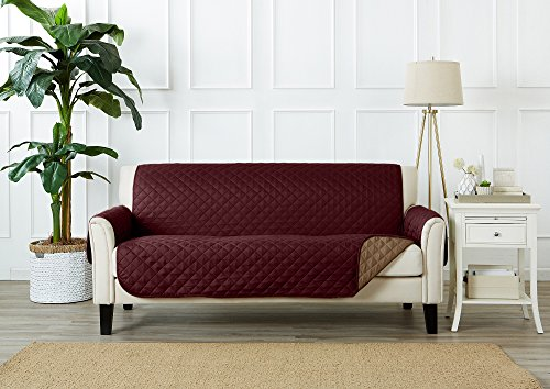 Right Arm Sofa (Deluxe Reversible Quilted Furniture Protector. Two Fresh Looks in One. By Home Fashion Designs Brand. (Sofa - Burgundy / Taupe))