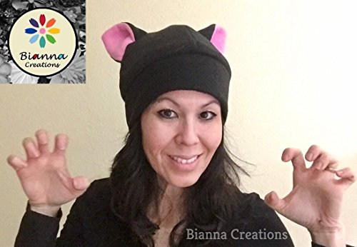 Handmade Kawaii Fleece Black and Pink Pussyhat Pussycat Pussy Cat Hat Ears Cosplay Anime Manga Womens Women's March General Strike Project Feminist Beanie Hat