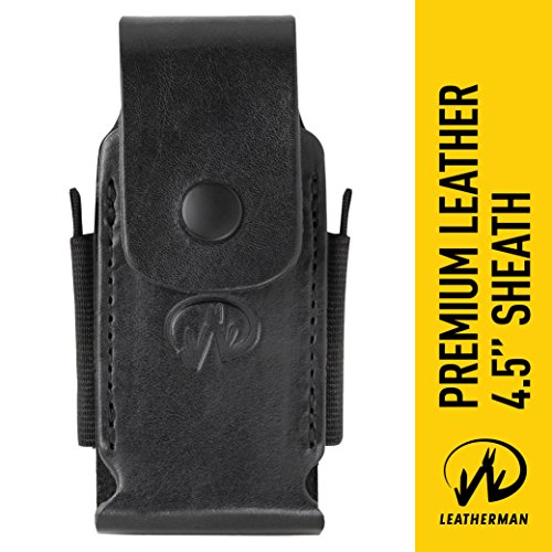 "Leatherman Premium Leather Sheath with Pockets, Fits 4.5"" Tools Black"