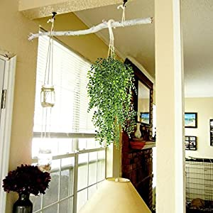 HOGADO 2pcs Artificial Ivy Fake Hanging Vine Plants Decor Plastic Greenery for Home Wall Indoor Outdside Hanging Basket 5