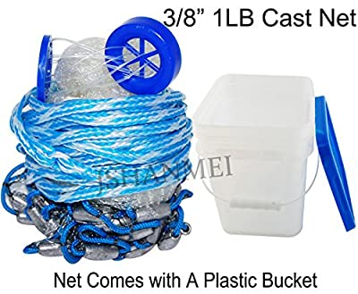 JSHANMEI Handmade American Saltwater Fishing Cast Net for Bait Trap Fish 5ft/6ft/7ft/8ft/9ft/10ft Radius, 3/8inch Mesh Size (With A Bucket)