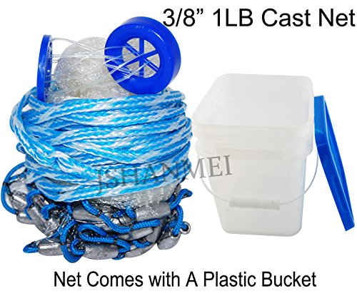 JSHANMEI Handmade American Saltwater Fishing Cast Net for Bait Trap Fish 5ft/6ft/8ft/10ft Radius, 3/8inch Mesh Size (With A Bucket) (10 Feet 3/8 Inch)