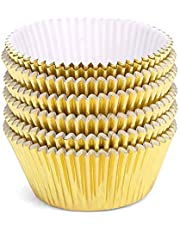100PCS Foil Metallic Cupcake Liners Baking Muffin Paper Cups Cases for Weddings, Birthdays, Festival, Dessert Party.
