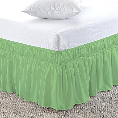 Sage, Full-XXL Size 12 inch Drop - Wrap Around Elastic Bed Skirt - Poly Cotton - Easy On/Easy Off Dust Ruffled Bed Skirts Soft & Wrinkle Free Bed Skirt.