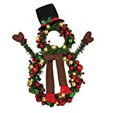 The Gerson Company 24 Inch Battery Operated Christmas Snowman Wreath with Ornaments, Top Hat and Scarf and Clear Lights