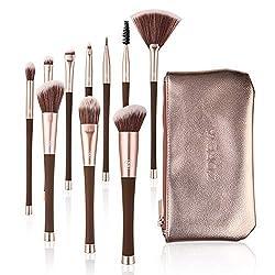 ❤️Thin Waists❤️ Makeup Brushes 10Pcs Premium Makeup Brush Set Cosmetics Foundation Blending Blush Cruelty-Free Synthetic Fiber Bristles Kabuki Makeup Brush Kit with PU Leather Clutch Included