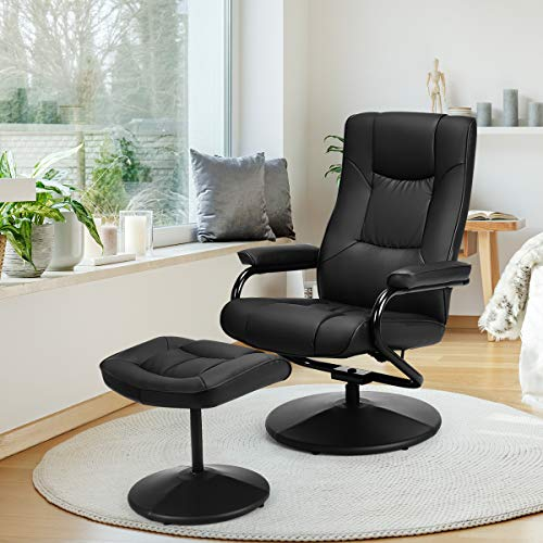 Giantex PU Leather Swivel Recliner Chair with Footrest Stool Ottoman Armchair Lounge Overstuffed Padded Seat, Leather Wrapped Base Home Office Use (Black) (Recliner Set Stool Chair And)