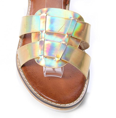 WOMENS LADIES FLAT ANKLE STRAP GLADIATOR SANDAL SUMMER SHOE SIZES 3 - 8 Gold PuVwH6