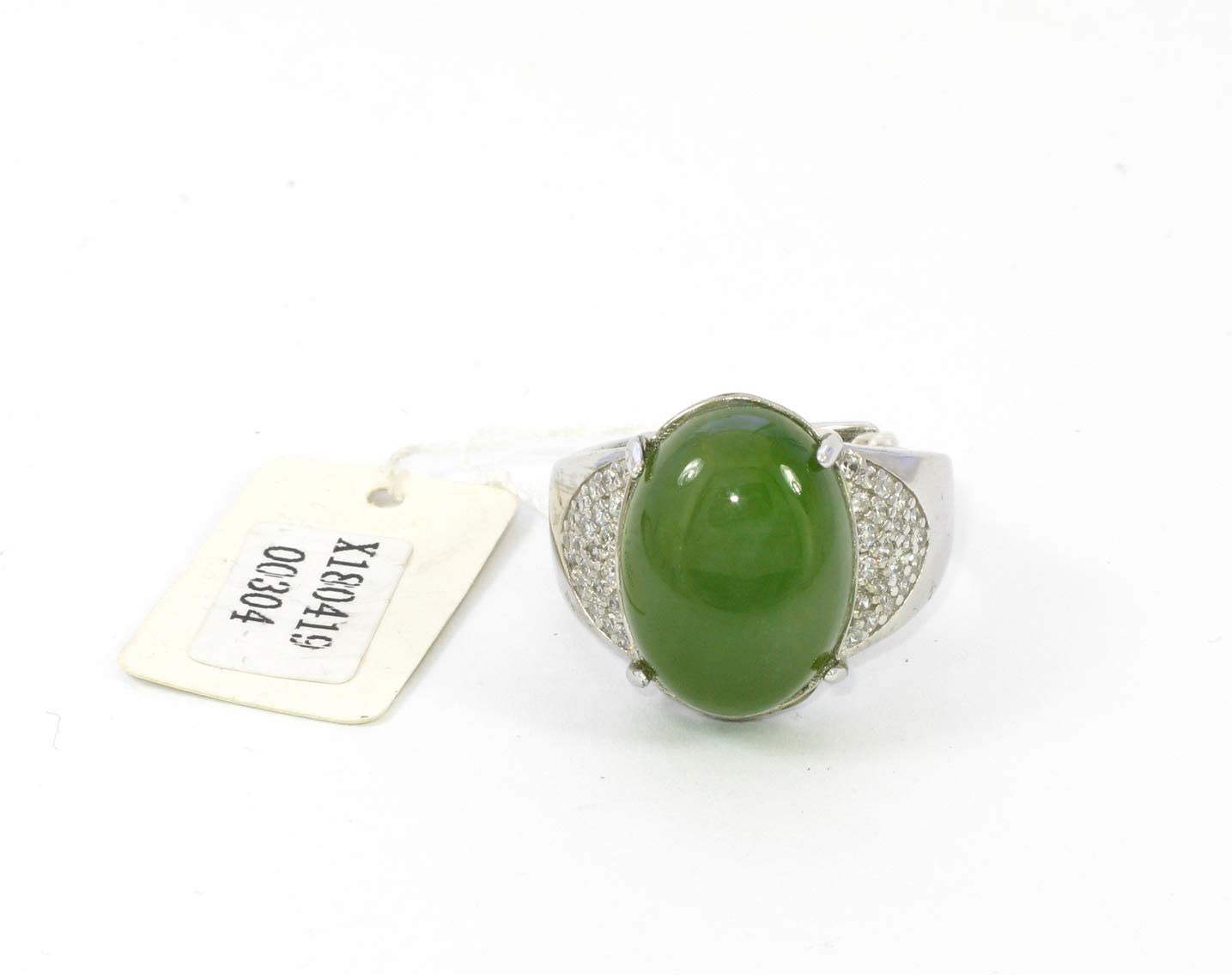Size 9 Jade Wire-Wrapped Ring  100/% Solid 925 Sterling Silver  Natural Nephrite Jade
