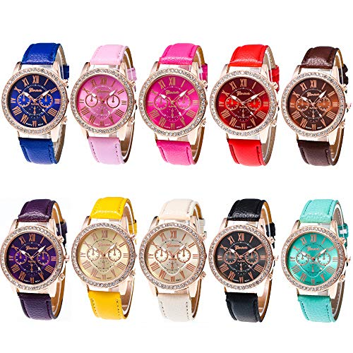 CdyBox Wholesale Watch 10 Pack Rhinestone PU Leather Wristband Roman Numerals Analog Quartz for Women Men