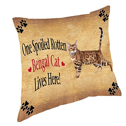 Bengal Spoiled Rotten Cat Throw Pillow (18x18)