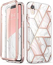 i-Blason Cosmo Full-Body Bumper Case with Built-in Screen Protector for iPhone XR 2018 Release, Pink Marble, 6