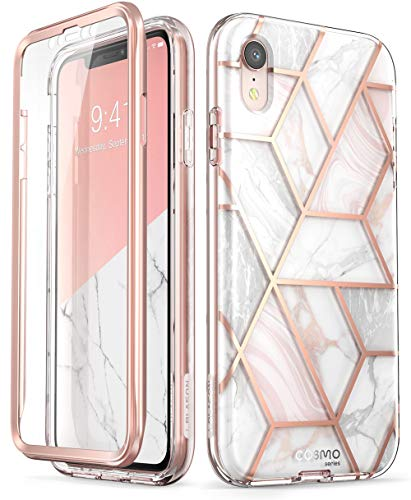 i-Blason Cosmo Full-Body Bumper Case for iPhone XR 2018 Release, Pink Marble, 6.1'